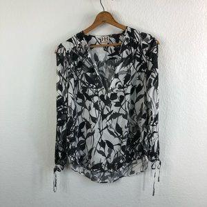 Haute Hippie Slit Sleeve Silk Abstract Blouse Keyh
